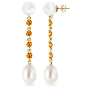 CHANDELIERS EARRINGS WITH CITRINES & PEARLS
